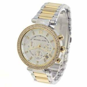 Michael Kors Women's Gold/Silver Tone Parker Watch